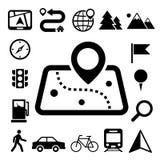 Kaart en Plaats geplaatste Pictogrammen Stock Afbeelding
