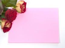Kaart en rozen Stock Afbeelding