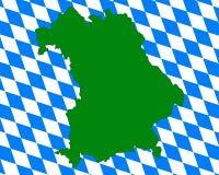 Kaart en vlag van Beieren Stock Afbeeldingen