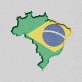 Kaart en vlag van Brazilië Royalty-vrije Stock Fotografie