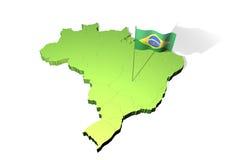 Kaart en vlag van Brazilië Stock Fotografie