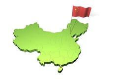 Kaart en vlag van China Royalty-vrije Stock Foto's