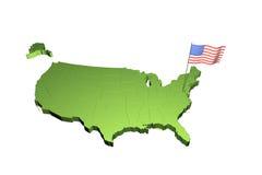 Kaart en vlag van de V.S. Stock Foto