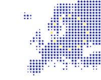Kaart en vlag van Europa Stock Afbeeldingen