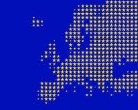 Kaart en vlag van Europa Stock Foto