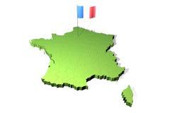 Kaart en vlag van Frankrijk Royalty-vrije Stock Foto
