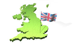 Kaart en vlag van het Verenigd Koninkrijk van Groot-Brittannië Stock Afbeelding