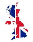 Kaart en vlag van het Verenigd Koninkrijk van Groot-Brittannië stock illustratie