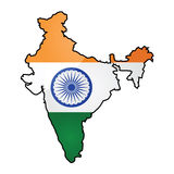 Kaart en vlag van India Stock Afbeelding