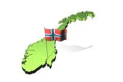 Kaart en vlag van Noorwegen Royalty-vrije Stock Afbeeldingen