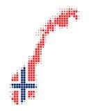 Kaart en vlag van Noorwegen Royalty-vrije Stock Afbeelding