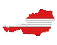 Kaart en vlag van Oostenrijk Stock Foto