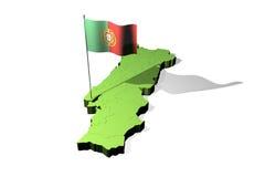 Kaart en vlag van Portugal Stock Foto