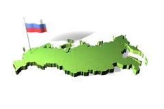 Kaart en vlag van Rusland Stock Fotografie