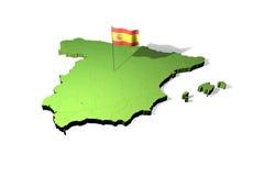 Kaart en vlag van Spanje Royalty-vrije Stock Foto