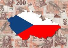 Kaart en vlag van Tsjechische Republiek Stock Foto