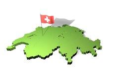 Kaart en vlag van Zwitserland Royalty-vrije Stock Afbeelding