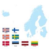 Kaart en vlaggen van Noord-Europa Stock Afbeelding