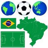 Kaart en voetbalpictogrammen Stock Foto