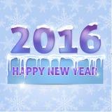 kaart Gelukkig Nieuwjaar 2016 Sneeuwvlokken, ijskegels, sneeuw Zieke vector Stock Illustratie