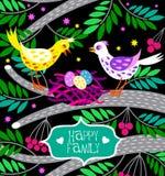 Kaart gelukkige familie met leuke vogels en nest in beeldverhaalstijl Stock Afbeelding