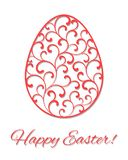 Kaart Gelukkige Pasen! Paasei in decoratieve stijl Tracery op het ei van werveling royalty-vrije illustratie