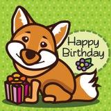 kaart Gelukkige Verjaardag vos Stock Afbeelding