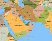 Kaart het gedetailleerde Midden-Oosten - Royalty-vrije Stock Fotografie