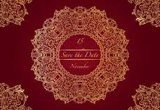 Kaart of huwelijksuitnodiging met mandalapatroon Vector uitstekende hand-drawn hoogst gedetailleerd om mandalaelementen Luxekant  Royalty-vrije Stock Foto's