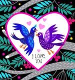 Kaart I houdt van u met leuke vogels in beeldverhaalstijl Royalty-vrije Stock Foto