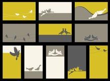 Kaart - inzameling met vogels Royalty-vrije Stock Foto