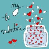 Kaart Krabbel van de uit de vrije hand is de Vectorgroet Mijn Valentine Lettering Vliegende Harten met het Glaskruik van het Vleu vector illustratie