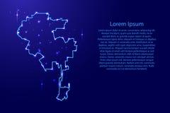 Kaart Los Angeles van het contourennetwerk blauw, lichtgevend ruimtes Royalty-vrije Stock Foto