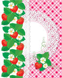 Kaart met Aardbeien en het kader van de kantcirkel Royalty-vrije Stock Afbeeldingen