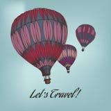Kaart met ballons Stock Fotografie