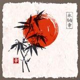 Kaart met bamboe en rode zon Stock Afbeeldingen