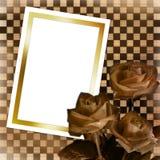 Kaart met blad en boeket van rozen Stock Foto