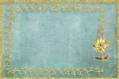 Kaart met bloem en gouden kader Stock Foto's