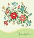 Kaart met bloemen Stock Afbeelding