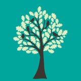 Kaart met bloemenboom en dwergpapegaai Royalty-vrije Stock Afbeeldingen