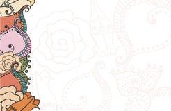 Kaart met bloemenelementen Stock Afbeeldingen