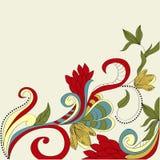 Kaart met bloemenornament Stock Afbeelding