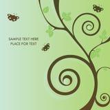 Kaart met boom en vlinder Stock Fotografie