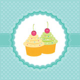 Kaart met cupcakes. Stock Afbeelding