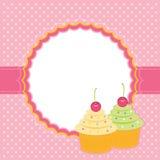 Kaart met cupcakes. Stock Foto