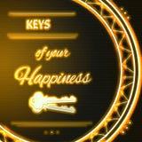 Kaart met de gele Sleutels van de neontekst van uw geluk stock illustratie