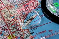Kaart met de stad New-York Stock Foto