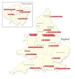 Kaart met de twintig clubs van de eerste Engelse voetballiga 2017-2018 Stock Foto