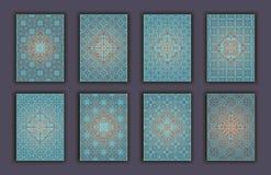 Kaart met decoratieve de elementenachtergrond die van het mozaïekkant wordt geplaatst Aziatische Indische oosterse overladen bann Stock Foto