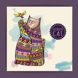 Kaart met decoratieve kat Stock Afbeelding